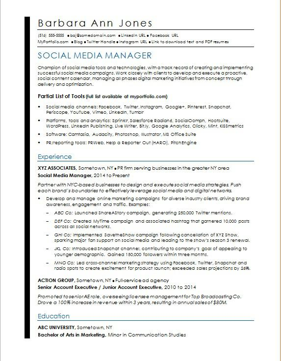 social media resume sample monster template manager community for nurses abroad trends Resume Social Media Resume Template