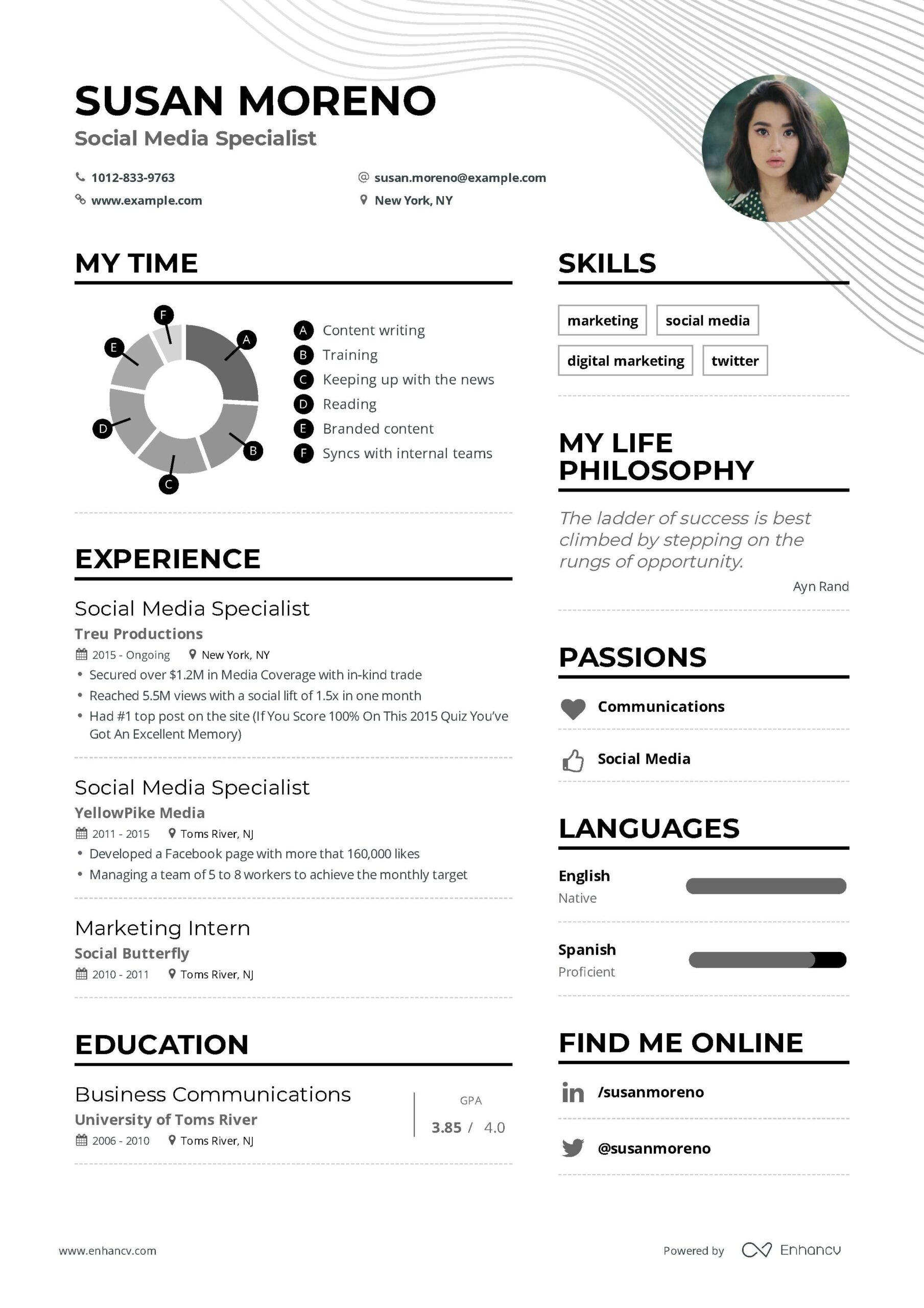 social media specialist resume example and guide for examples marketing template Resume Social Media Resume Template