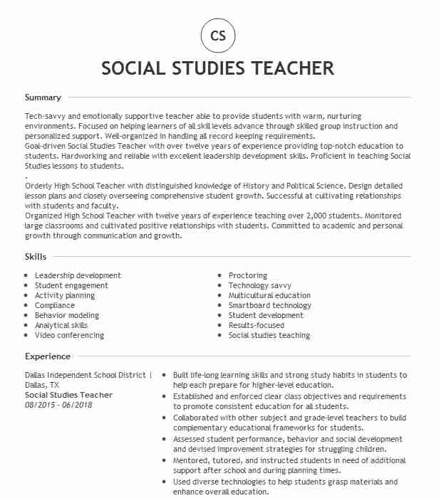 social studies teacher resume example resumes livecareer mission statement for project Resume Mission Statement For Teacher Resume