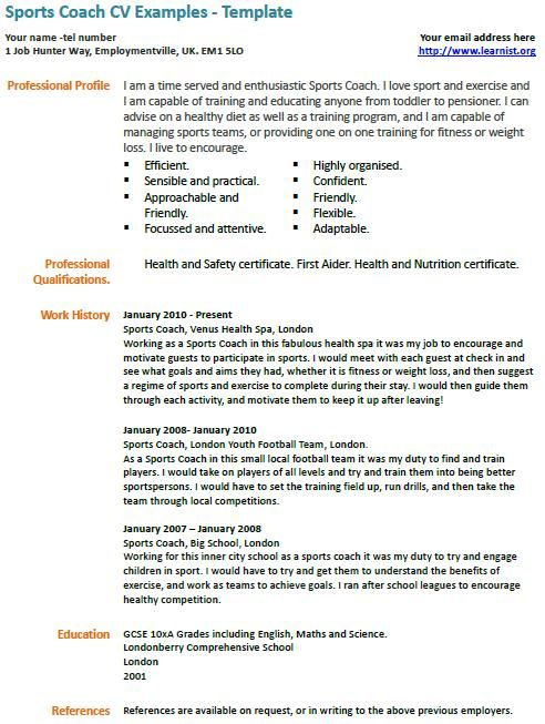 sports coach cv example examples job resume samples template for coaching aps contoh Resume Resume Template For Coaching Job