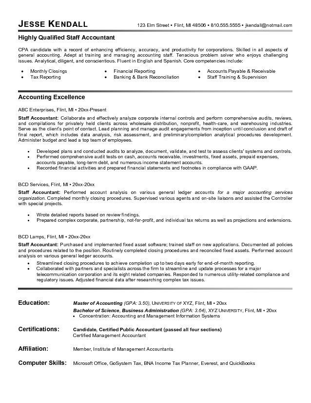 staff accountant resume example latest format examples objective statement senior sample Resume Senior Staff Accountant Resume Sample