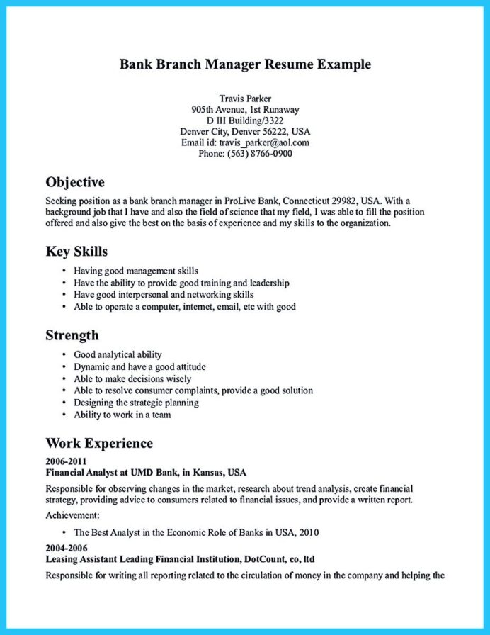 starting successful career from great bank manager resume examples assistant job Resume Yale Som Resume Template