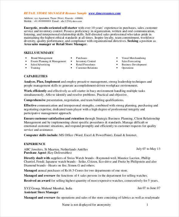 store manager resume free pdf word documents premium templates retail template customer Resume Retail Store Resume Template