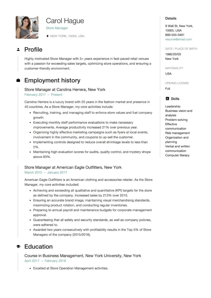 store manager resume guide samples pdf template 724x1024 motorsports redshift developer Resume Store Manager Resume Template
