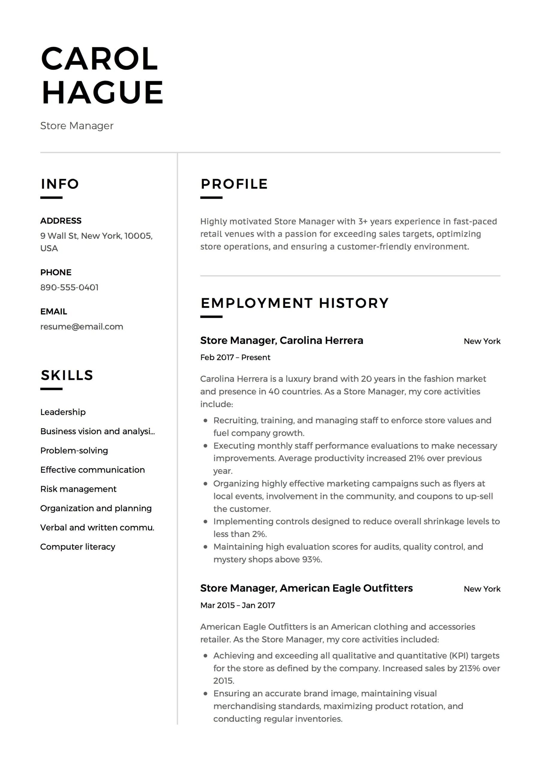 store manager resume sample template example cv formal design examples guide retail ats Resume Retail Store Resume Template