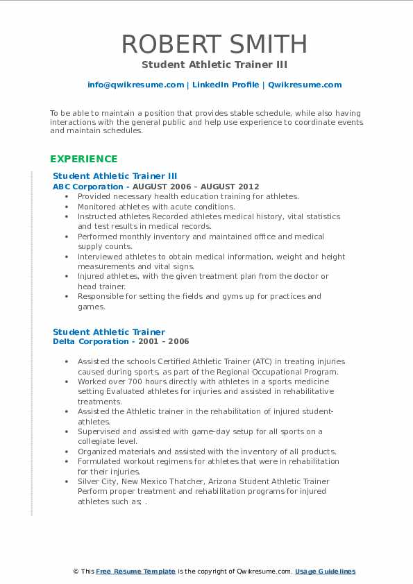 student athletic trainer resume samples qwikresume training pdf layout design Resume Athletic Training Student Resume