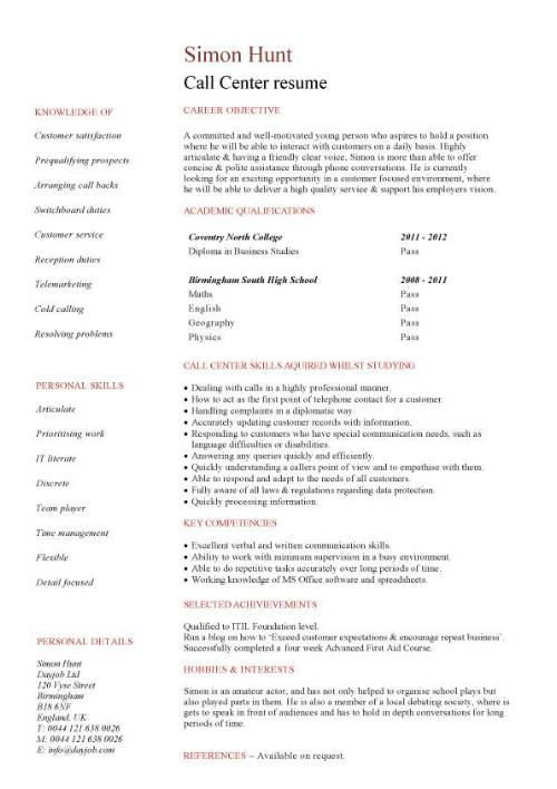 student entry level call resume template for center agent pic sample medical technologist Resume Resume For Call Center Agent