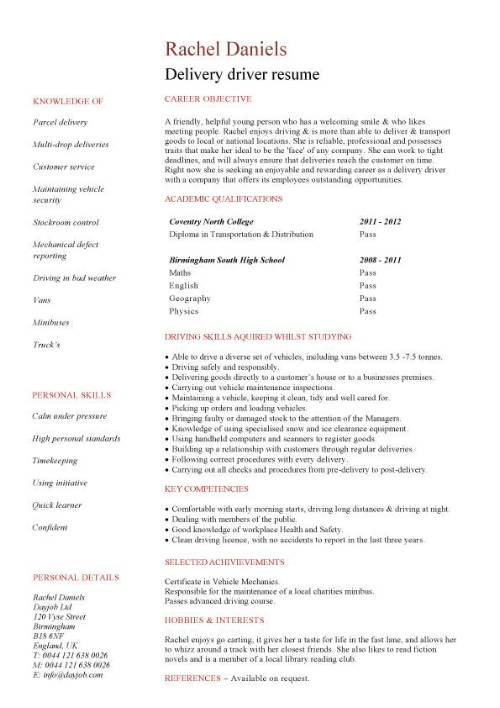 student entry level delivery driver resume template examples pic chronological Resume Delivery Driver Resume Examples