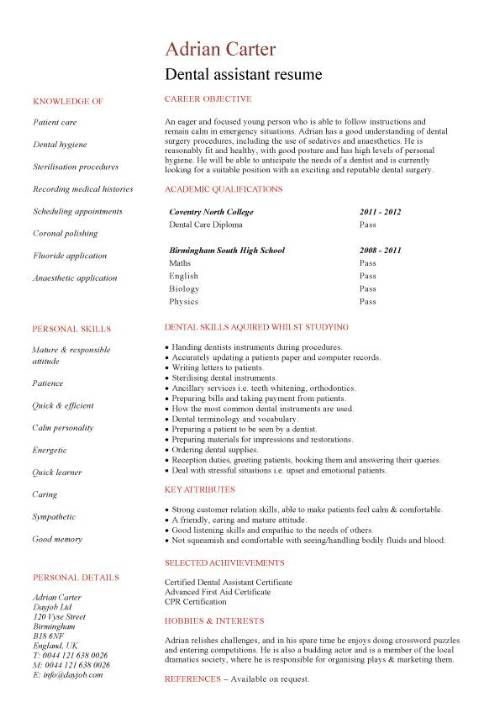 student entry level dental assistant resume template pic format for educational Resume Dental Assistant Resume Template