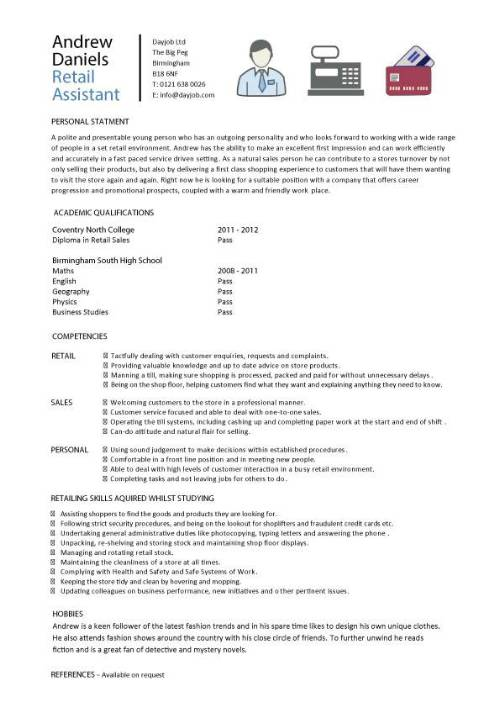 student entry level retail assistant resume template for job with no experience pic Resume Resume For Retail Job With No Experience