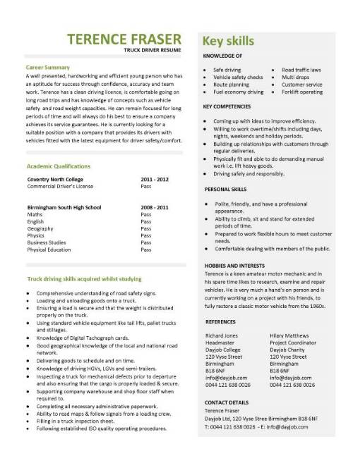 student entry level truck driver resume template objective pic cfi work experience Resume Truck Driver Resume Objective