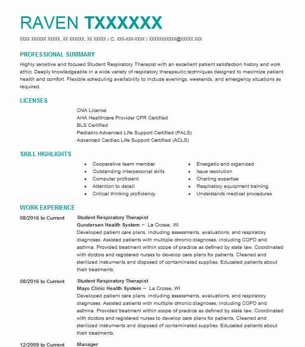student respiratory therapist resume example livecareer sample spark builder skills and Resume Respiratory Therapist Resume Sample