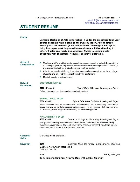 student resume templates easyjob free for college students examples freelance makeup Resume Free Resume For College Students