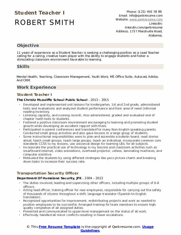 student teacher resume samples qwikresume sample for teachers without experience pdf wvu Resume Professional Teacher Resume Template