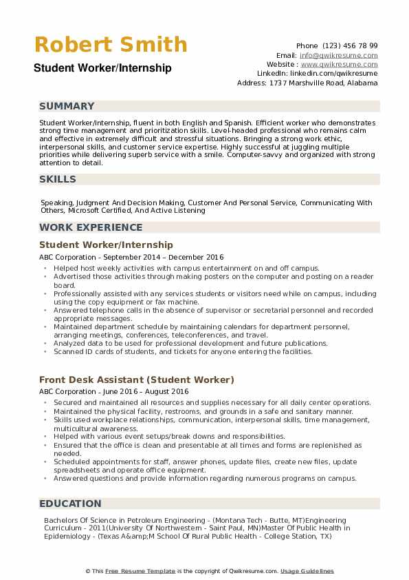 student worker resume samples qwikresume summary examples for students pdf education Resume Resume Summary Examples For Students