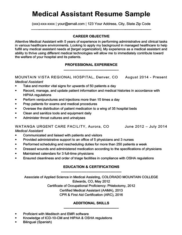 summary of skills for medical assistant resume administrative with examples experienced Resume Experienced Medical Assistant Resume