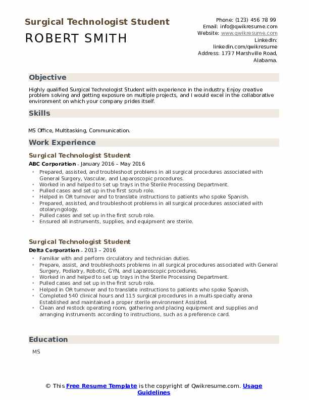surgical technologist student resume samples qwikresume for pdf attractive international Resume Resume For Surgical Technologist Student