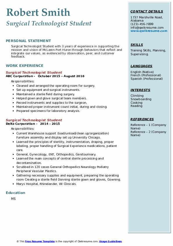 surgical technologist student resume samples qwikresume for pdf emc storage administrator Resume Resume For Surgical Technologist Student