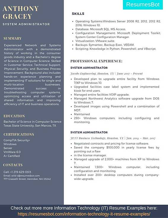 sysadmin resume samples templates pdf resumes bot format for freshers example pmo lead Resume Resume Format For Freshers Pdf