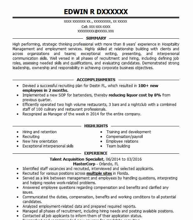talent acquisition specialist resume example loop llc new preferred format band template Resume Talent Acquisition Specialist Resume
