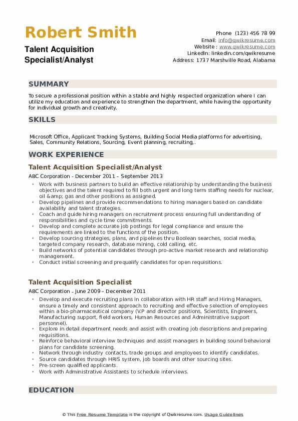 talent acquisition specialist resume samples qwikresume pdf band template quikr skills Resume Talent Acquisition Specialist Resume