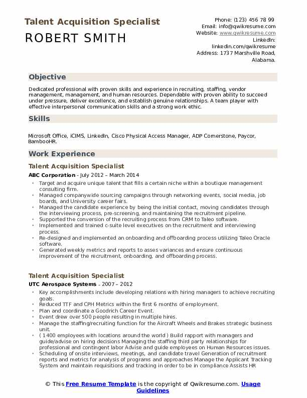 talent acquisition specialist resume samples qwikresume pdf draftsperson sample ats Resume Talent Acquisition Specialist Resume