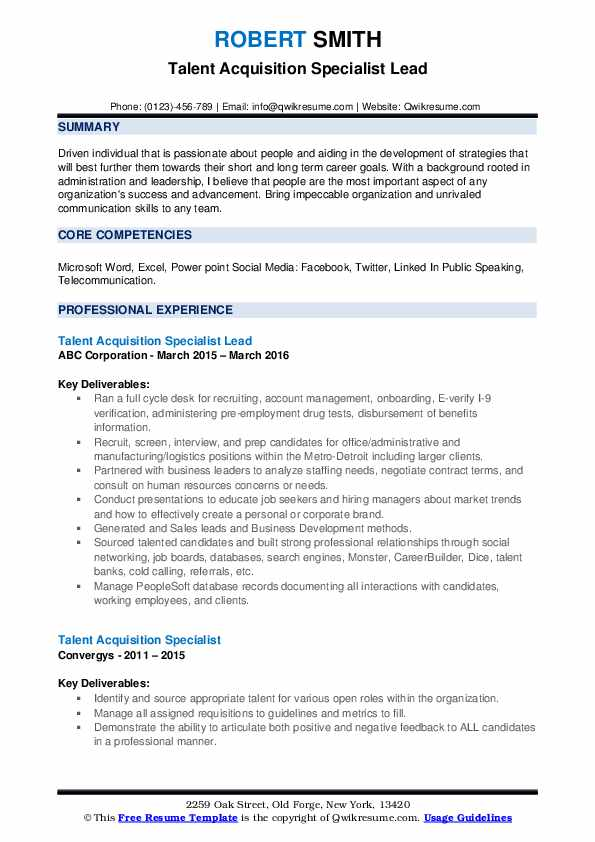 talent acquisition specialist resume samples qwikresume pdf server and hostess skills Resume Talent Acquisition Specialist Resume