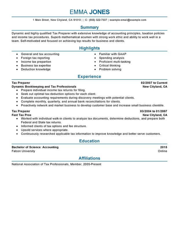 tax preparer resume examples free to try today myperfectresume skills accounting and Resume Tax Preparer Skills Resume