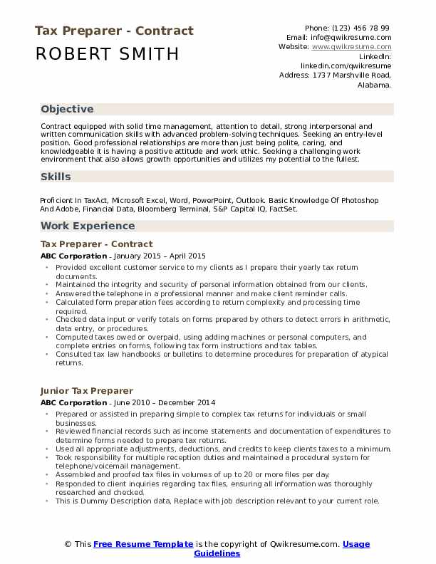 tax preparer resume samples qwikresume job description pdf college freshman template Resume Tax Preparer Job Description Resume