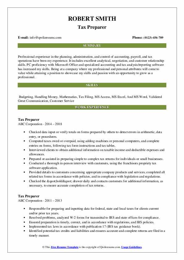 tax preparer resume samples qwikresume job description pdf sample for fresh graduate Resume Tax Preparer Job Description Resume
