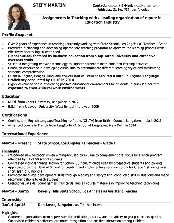 teacher cv format resume sample and template indian school entry stocking skills activity Resume Indian School Teacher Resume