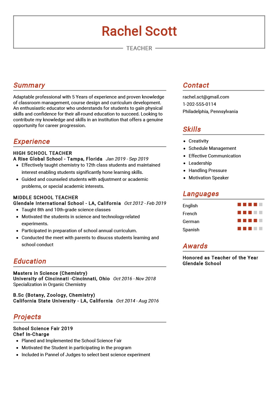 teacher resume example sample resumekraft give an of hospitality examples good color Resume Give Me An Example Of A Resume