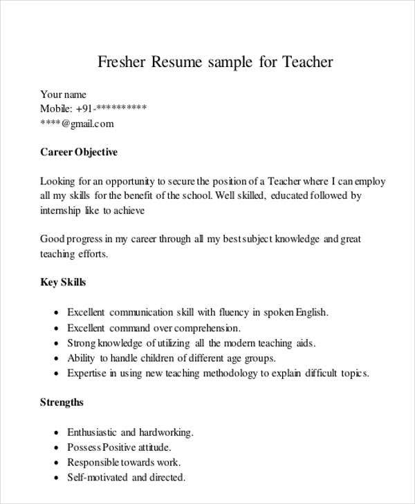 teaching resume templates pdf free premium strength for fresher job interview cerner Resume Strength For Fresher Resume