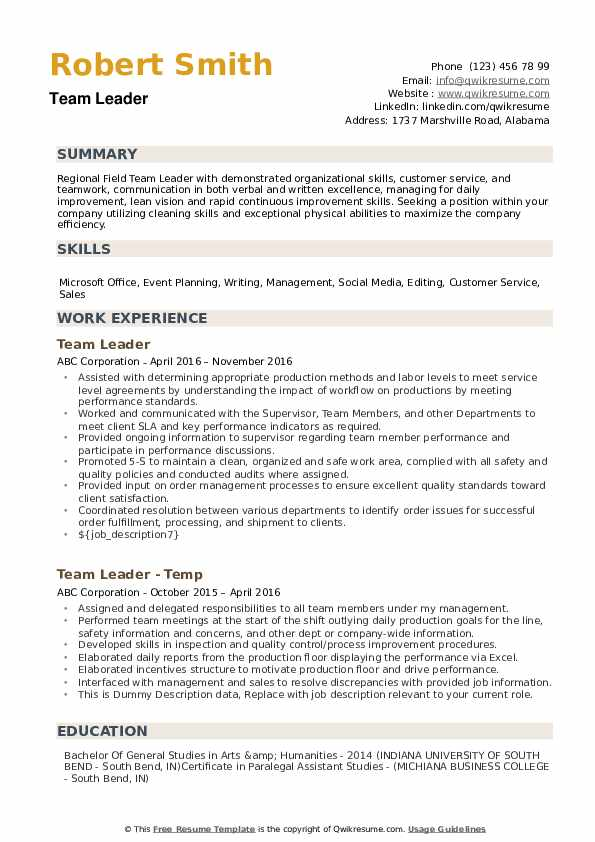 team leader resume samples qwikresume leadership template pdf for logistics company data Resume Leadership Resume Template
