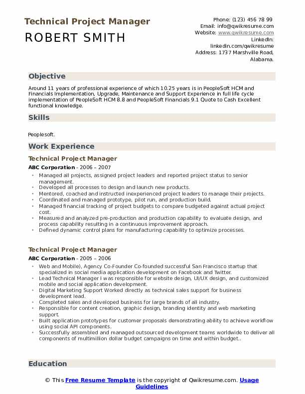 technical project manager resume samples qwikresume template pdf typer cnc format example Resume Project Manager Resume Template