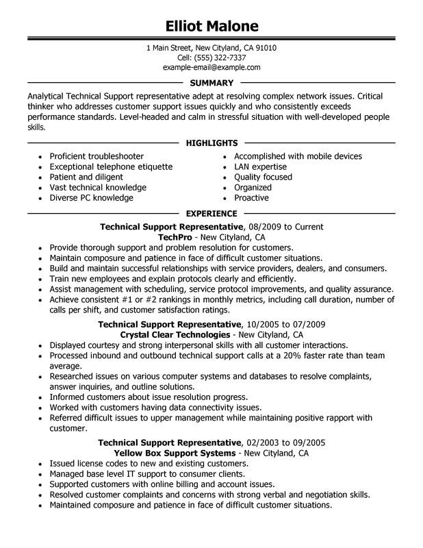 technical support resume examples created by pros myperfectresume information technology Resume Information Technology Summary Resume