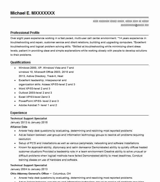technical support specialist resume example livecareer computer examples high end Resume Computer Support Specialist Resume Examples