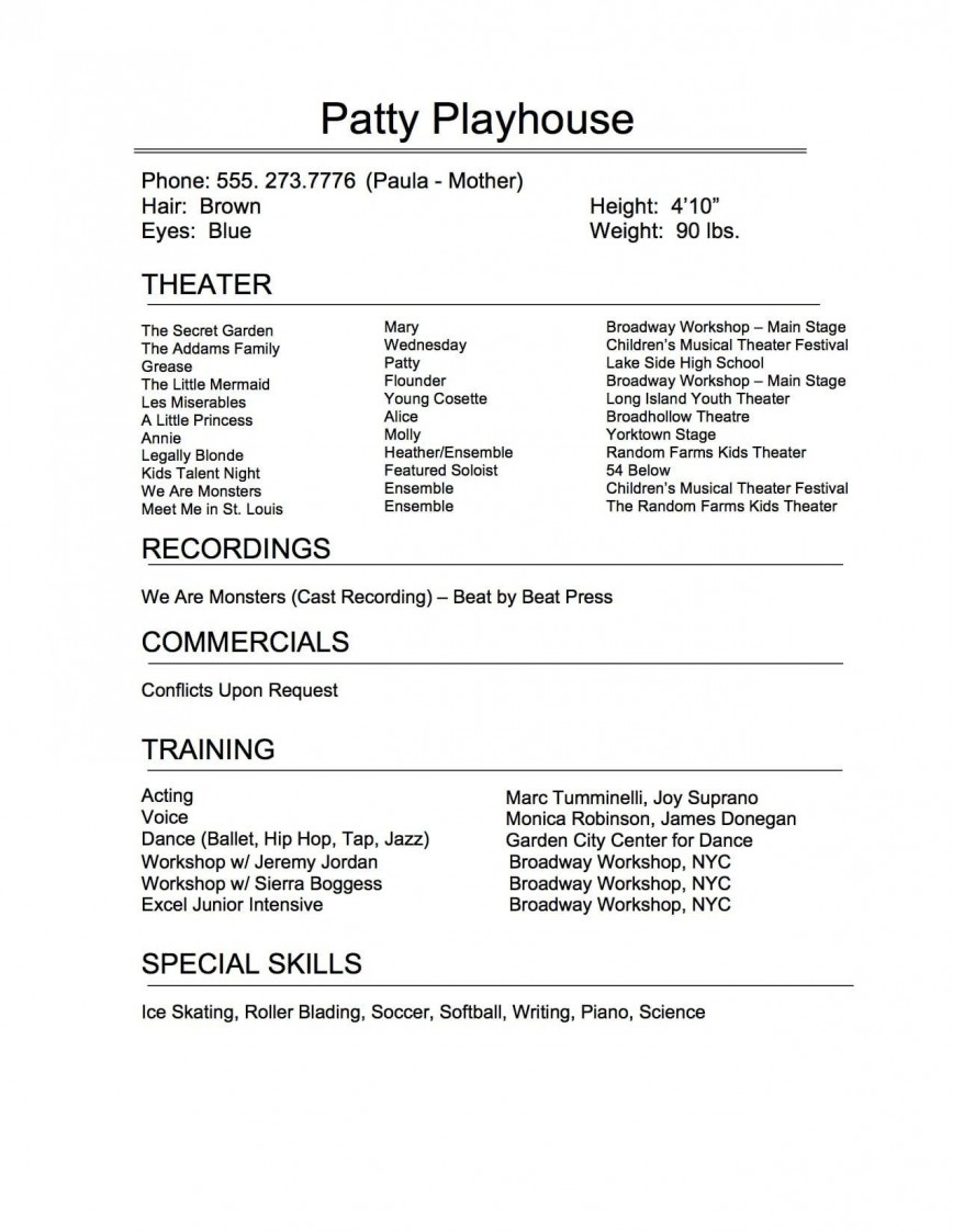 technical theatre resume template addictionary child actor remarkable highest clarity Resume Child Actor Resume Template