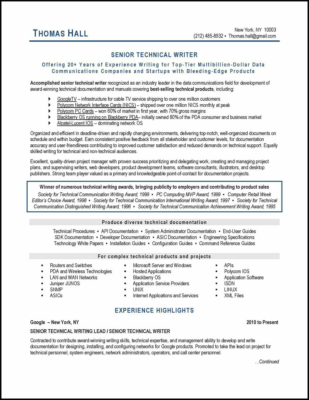 technical writer resume example distinctive career services tech industry generic Resume Resume Writer Tech Industry