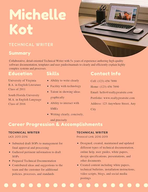 technical writer resume samples templates pdf resumes bot template example best for any Resume Technical Writer Resume Template