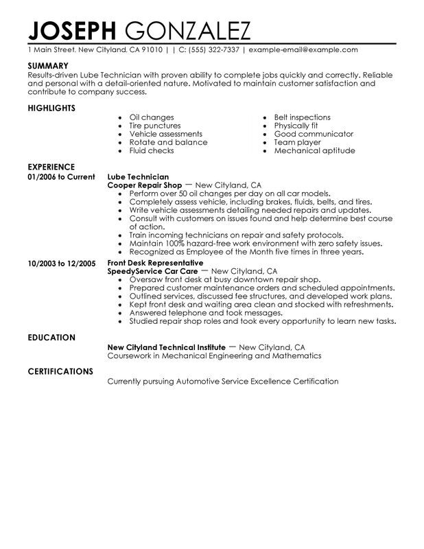 technician resume examples created by pros myperfectresume automotive search customer Resume Automotive Technician Resume Search