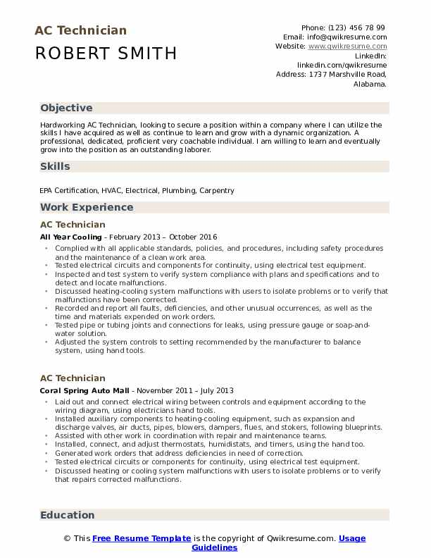 technician resume samples qwikresume for air conditioning pdf builder customer service Resume Resume For Air Conditioning Technician