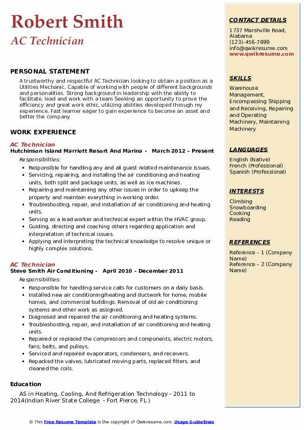 technician resume samples qwikresume for air conditioning pdf mechanical engineering Resume Resume For Air Conditioning Technician