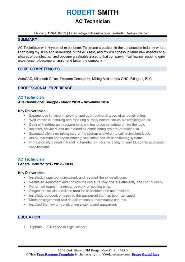technician resume samples qwikresume for air conditioning pdf outdoor recreation sheryl Resume Resume For Air Conditioning Technician