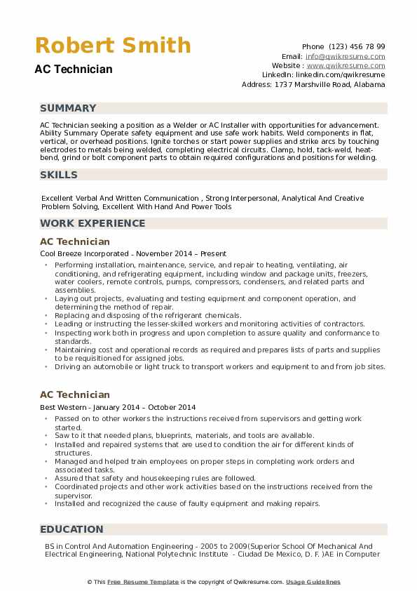 technician resume samples qwikresume for air conditioning pdf self employed farmer format Resume Resume For Air Conditioning Technician