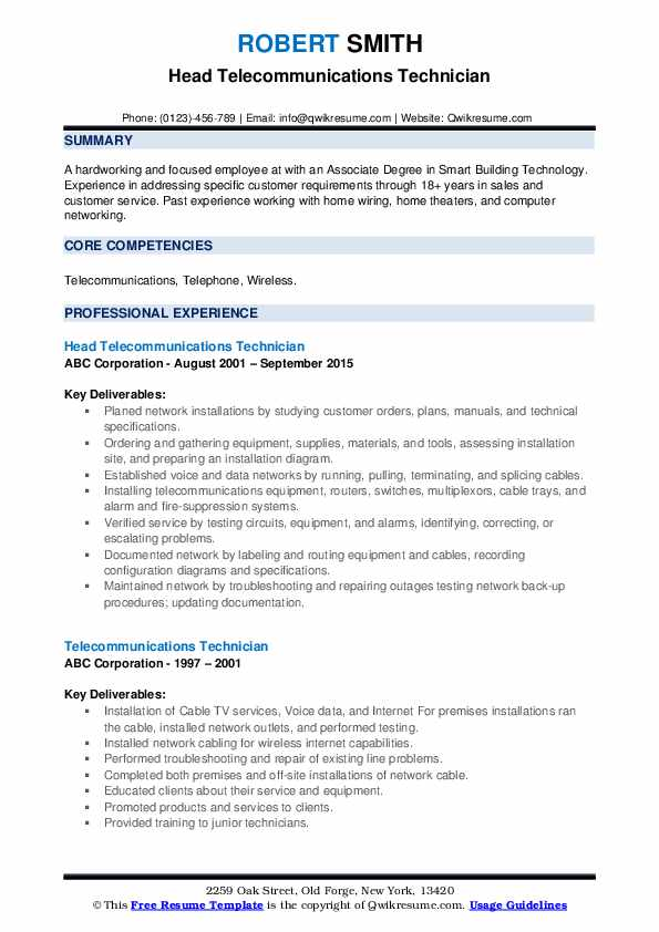 telecommunications technician resume samples qwikresume objective pdf character designer Resume Telecommunications Technician Resume Objective