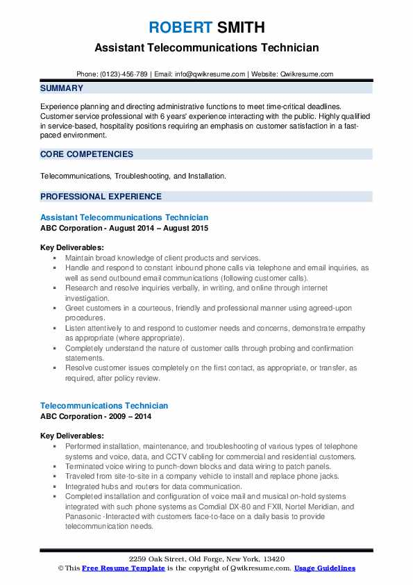 telecommunications technician resume samples qwikresume objective pdf for marketing Resume Telecommunications Technician Resume Objective