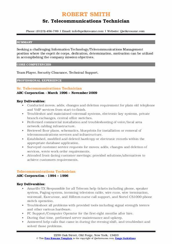 telecommunications technician resume samples qwikresume objective pdf free sample Resume Telecommunications Technician Resume Objective