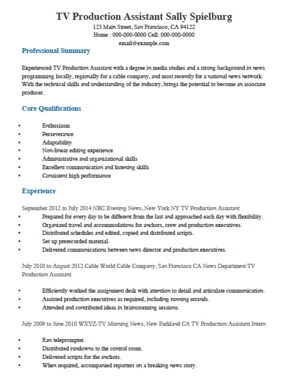 television tv production assistant resume template templates cura print records Resume Production Assistant Resume Template