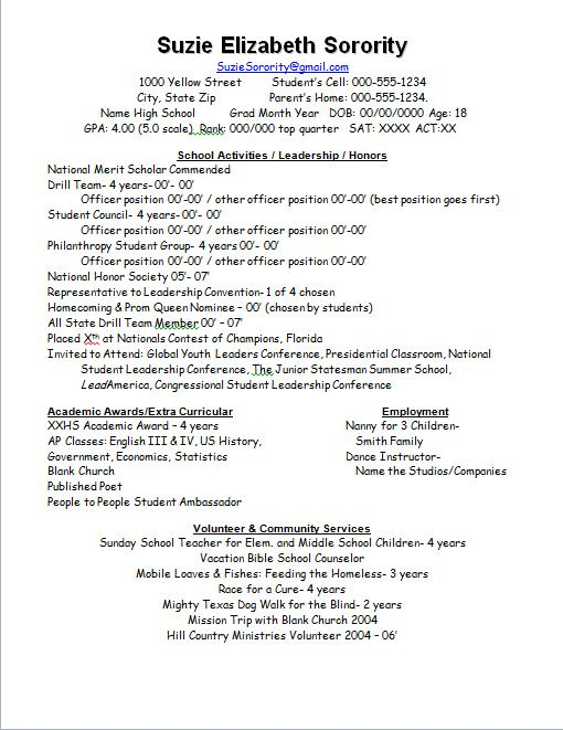 the duchess of plumewood sorority resume best for college freshman template samples Resume Best Picture For Sorority Resume